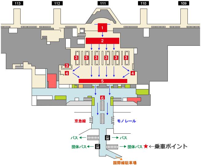 羽田空港を出た後、団体バスレーンへお越しください。